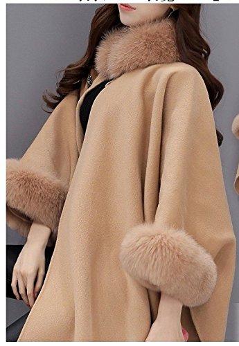 Lana Lana Chaqueta Talla Grande Casual Capa de de Chquetas Piel YOGLY de Largo Mujer Mujer Invierno Abrigo de vR0Fvw