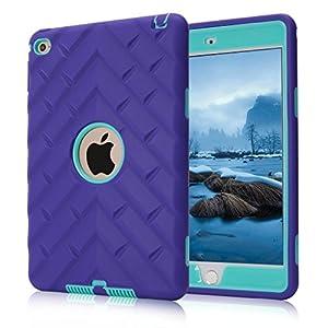 iPad mini 4 Case, iPad A1538/A1550 Case, Hocase Rugged Shockproof Anti-Slip Hybrid Hard Shell+Silicone Rubber Bumper Protective Case for Apple iPad mini 4th Generation 2015 - Purple / Teal