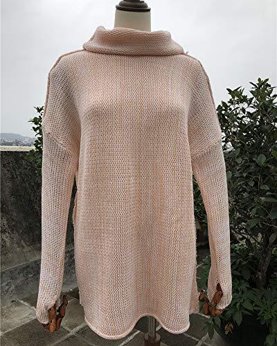 Da Blouse Lunga Maglietta Donna Zixing Rotondo Rosa Collo Maglioni Sciolto Manica pw50qO80