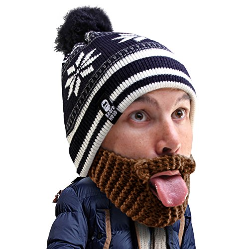 Beard Head Stubble Bumper Beard Beanie - Funny Winter Hat and Fake Beard Brown