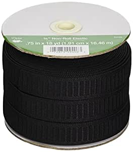 "Non-Roll Elastic 3/4""X18 Yards-Black"