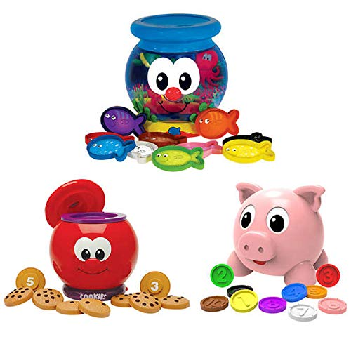 The Learning Journey: Learn with Me Gift Set, Includes Numbers and Colors Pig E Bank,Count and Learn Cookie Jar, and Color Fun Fish Bowl, Batteries Included (3-Pack Combo)
