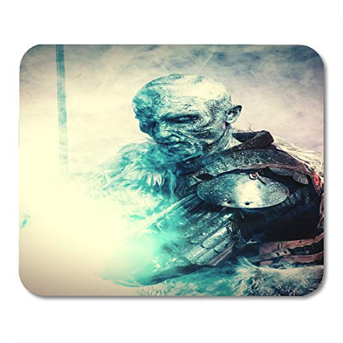 Nakamela Mouse Pads White Demon Halloween Frozen Snow Covered Zombie Warrior in The Armor of Medieval Knight Blue Horror Mouse mats 9.5