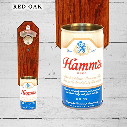 Wall Mounted Bottle Opener with Vintage Hamm's Beer Can Cap