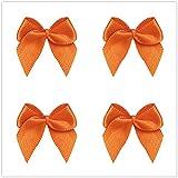 50pcs Mini Satin Ribbon Bows Ribbon Flowers 25mm x 26mm Appliques DIY Craft for Sewing, Scrapbooking, Wedding, Gift (Orange)