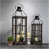 Glitzhome Farmhouse Wood Metal Lanterns Decorative Hanging Candle Lanterns Set of 2