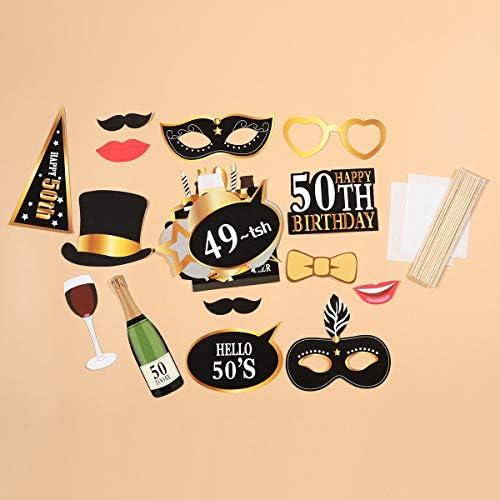 Amosfun 24Pcs Accessoires photobooth Anniversaire pour 50/ème Anniversaire Celebration