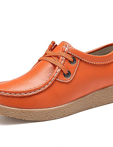 ZQ Zapatos de mujer - Tacón Plano - Comfort / Punta Redonda - Oxfords - Oficina y Trabajo / Casual / Fiesta y Noche - Cuero -Negro / , orange-us8.5 / eu39 / uk6.5 / cn40 , orange-us8.5 / eu39 / uk6.5 orange-us8.5 / eu39 / uk6.5 / cn40