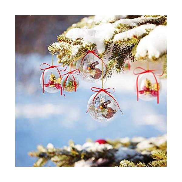 Gwhole Set di 15 Palline di Natale con 15 Corde d'oro e 15 Corde Rosse, 6cm 8cm 10cm Sfera Plastica Trasparenti Palla Palle da Natalizie Albero Apribili Decorative 5 spesavip