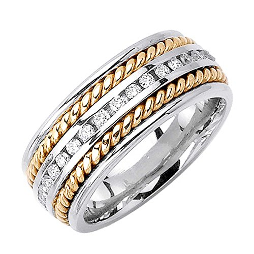 0.88ct TDW White Diamonds 18K Gold Braided Women's Wedding Band (G-H, SI1-SI2) (9.5mm) Size-8c4 Braided Gold Diamond Wedding Band