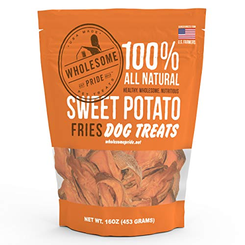 Wholesome Pride Sweet Potato Fries Dog Treats, Dehydrated, Made in The USA, Grain Free, Healthy Dog Chews, 8 oz For Sale