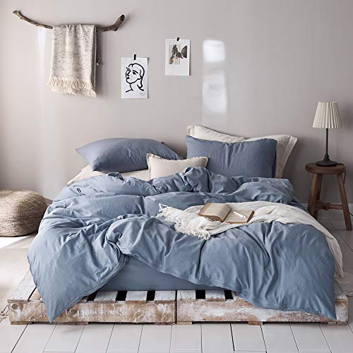 mixinni 3 Pieces Simple Style Duvet Cover Full Size Solid Color Blue Bedding Cover Set with Zipper Ties for Him and Her (1 Duvet Cover + 2 Pillow Shams),Easy Care,Soft,Durable (Denim Blue,Queen)