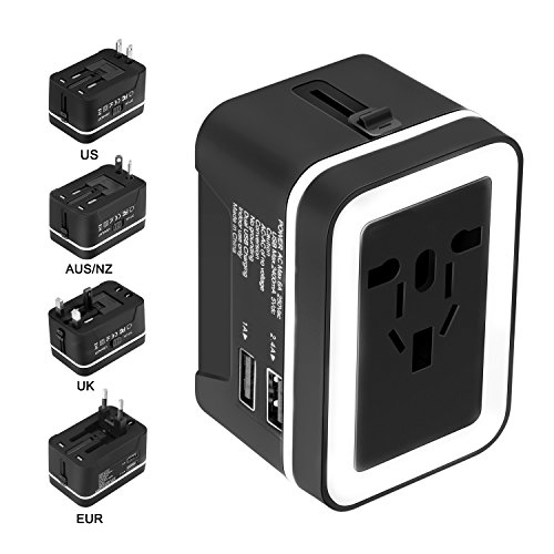 Xcords Premium Worldwide All in One Universal Travel Plug Charger Upgraded AC Power Plug Converter Wall Charger with 2 USB Ports Sync for USA EU UK AUS Cell Phone Laptop(BlackWhite) (Power Converter World)