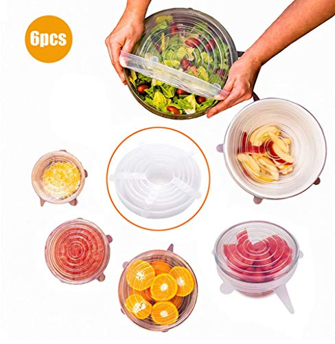 Trrut Silicone Stretch Lids Reusable 6-Pack of Various Sizes Pack Food Fruit and Vegetable Covers,Suit Round,Rectangle,Square Shapes,Platters,Dishes,Bowls,Pots,Containers,Jars,Cans,Cups and Glasses