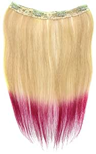 Tressecret Ombre Tail Dip-Dye Clip In Extension, 16 inches 18 inches, Blonde and Hot Pink