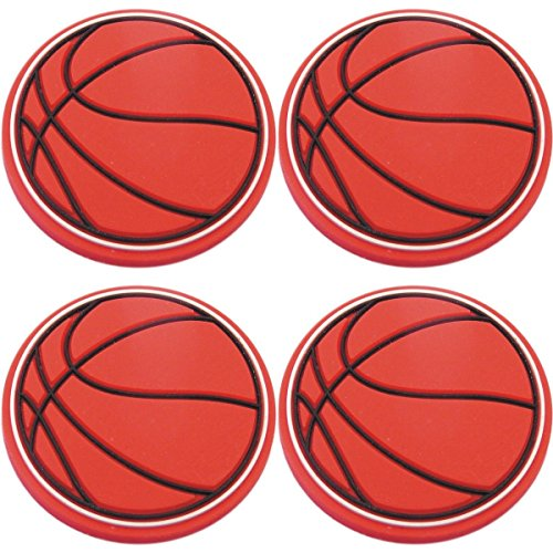 Four (4) of Basketball Rubber Charms for Wristbands and Shoes (Basketball Shoe Charm)
