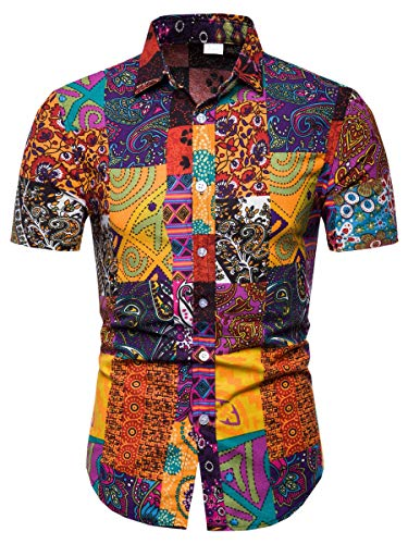 Men's Floral Shirt, All Over Print Button Down Short Sleeve Floral Shirt for Men, TC 19, US Medium(Slim Fit) = Tag L