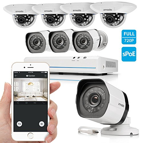 Zmodo 8CH Smart PoE Surveillance Camera System 4 x720P Outdoor + 4 x720P Indoor Dome Security Camera No Hard Drive