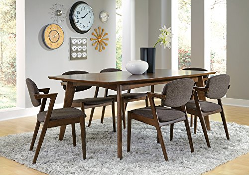 Malone Rectangular Dining Table Dark Walnut - Set includes: One (1) dining table Materials: MDF, Asian tropical wood, Asian hardwood and walnut veneer Finish Color: Dark walnut - kitchen-dining-room-furniture, kitchen-dining-room, kitchen-dining-room-tables - 51UeESSBM0L -