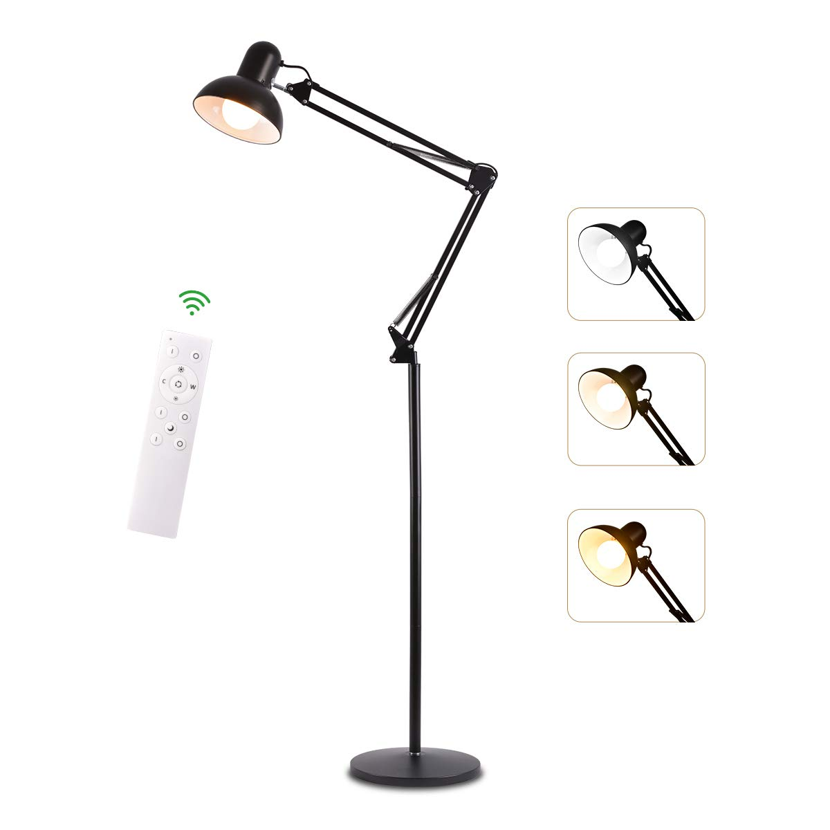 Floor Lamp Reading Light Dimmable 360 Degrees Adjustable Head Lamp Swing Arm Desk Lamp with Remote Control Uplight Heavy Metal Base for Office, Bedroom,Sewing,Living Room,Family Room,Study Room