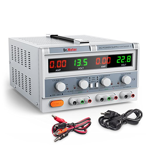 (Dr.meter Triple Linear DC Power Supply 30V 5A, Input voltage 104-127V, Alligator to Banana and AC Power Cable Included)