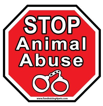 Stop Animal Abuse Sign Magnet