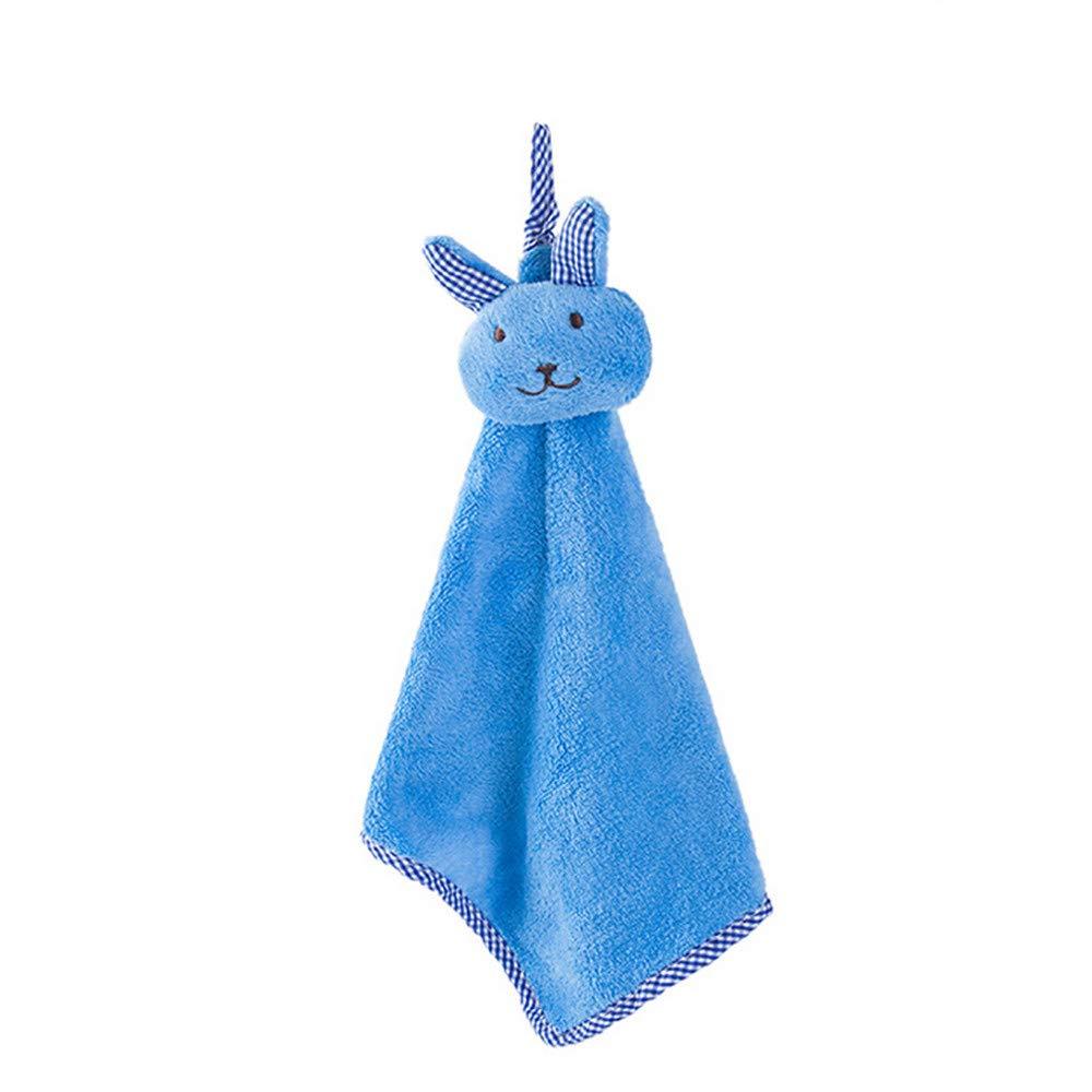 Connia Cute Kitchen Cartoon Animal Hanging Cloth Soft Plush Dishcloths Hand Towel (Blue)