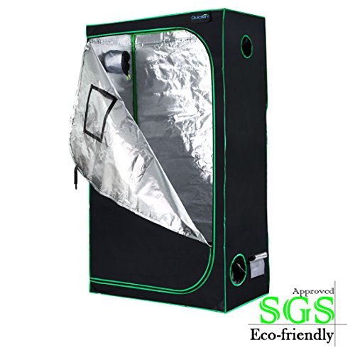 Quictent SGS Approved Eco-Friendly 48″x24″x84″ Reflective Mylar Hydroponic Grow Tent with Heavy Duty Anti-Burst Zipper and Waterproof Floor Tray for Indoor Plant Growing 4'x2' For Sale