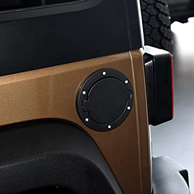 Aukmak Fuel Filler Door Cover Gas Fuel Tank Cap Cover Black for 2007-2020 Jeep Wrangler JK & Unlimited 4-Door 2-Door: Automotive