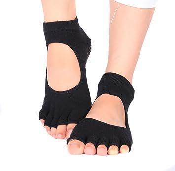 Fitness antideslizante baile del Ballet Yoga Pilates Calcetines con apretones algodón Yoga y Pilates Barre sin