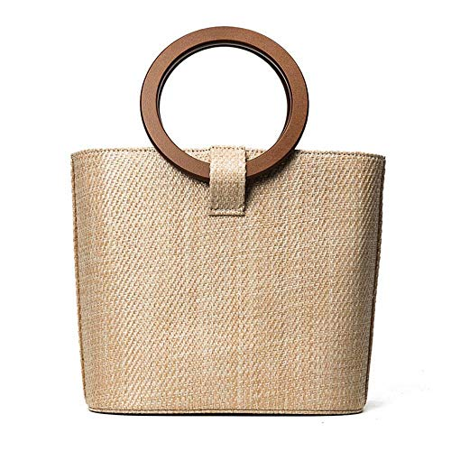 - Hamkaw Straw Tote Bag for Women, [Newest] Boho Satchel Bag with Wood Ring & Detachable Strap Minimalist Vintage Natural Bali Ata Woven Rattan Handbag Beach Crossbody Bag for Ladies Girls