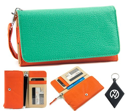 Motorola DROID RAZR MAXX HD Wallet Wristlet Clutch with Coin Money Zipper Pocket and Three ID Credit Card Compartments. Includes one Detachable Wrist Strap. Color: Teal / Orange + NuVur ™ Keychain (ESMLMTOG)