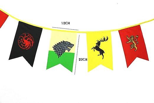 TianLinToy Banderas Juego de Tronos Estilo Banner Casa Sigil de Pared (3m), Banderas Colgantes por Barra de la decoración del Club salón: Amazon.es: ...