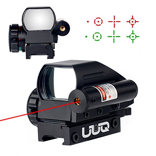 UUQ 4-16x50 Tactical Rifle Scope Red/Green Illuminated Range Finder Reticle W/RED(GREEN) Laser and Multi Coated Holographic Reflex Dot Sight (12 Month Warranty) (Red Dot - 50 Small Bore Foot