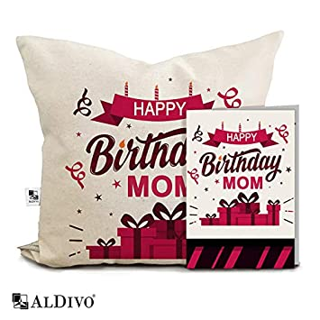 Buy AlDivo Premium Quality Happy Birthday Mom Printed Combo Gift Pack 12 Inch X Cushion Cover With Filler Greeting Card Online At Low