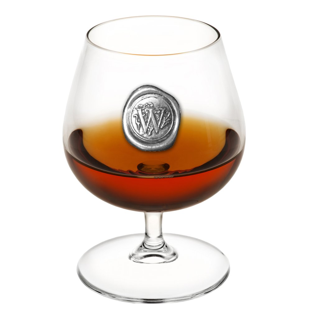 English Pewter Company 14.5oz Brandy Cognac Snifter Glass With Monogram Initial - Unique Gifts For Men - Personalized Gift With Your Choice of Initial (W) [MON223]
