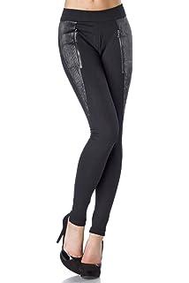 Yourdesignerz Elegante Schwarze Damen Hose figurbentont mit Biesenbesatz  Leggings mit Musterung weich elastisch 5d3f64c59a