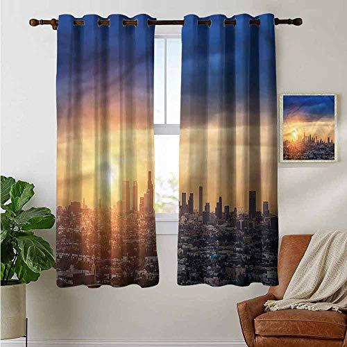 petpany Window Curtains City,Sunrise at Los Angeles,Tie Up Window Drapes Living Room 42