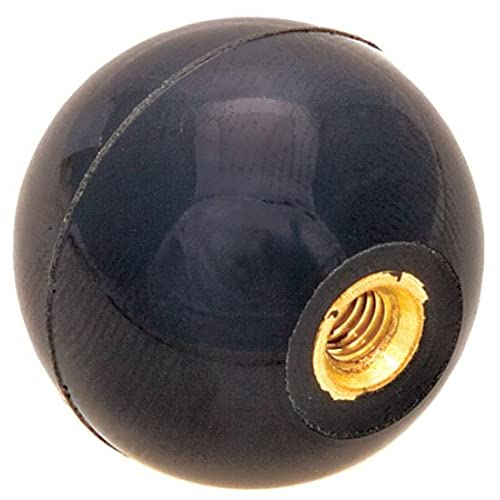 1 5/8 dia., 7/16-20 thds Brass., Black Phenolic Plastic Ball Knob - Inch (1 Each)