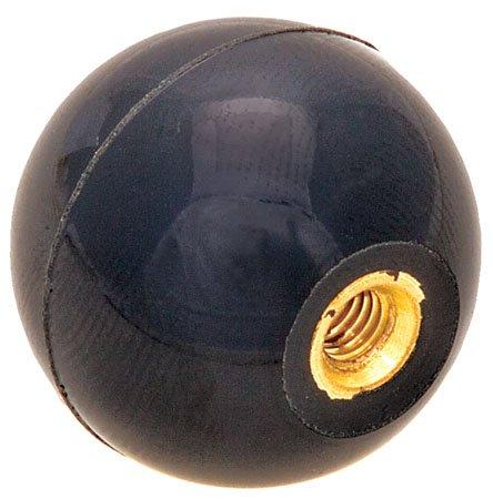 1 5/8 dia., 7/16-20 thds Brass., Black Phenolic Plastic Ball Knob - Inch (1 Each)