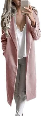 Macondoo Women Overcoat Lapel Woolen Solid Fall Winter Long Jacket Coat