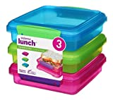 Sistema Lunch Sandwich Box, 450 ml - Assorted Colours, Pack of 3
