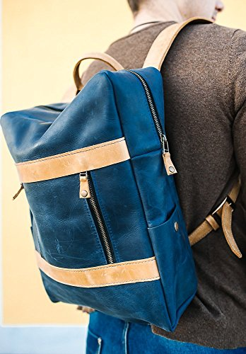 Leather Unisex Blue Rucksack Backpack - Modern Trend Stylish Fashion Accessory - Best Gift for man and woman, friend, boyfriend or girlfriend- Win a prize for a feedback (Trend Rucksack)