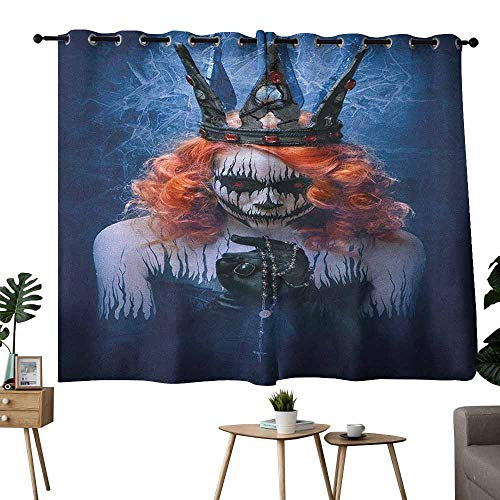 Mannwarehouse Queen Printed Insulation Curtain Queen of Death Scary Body Art Halloween Evil Face Bizarre Make Up Zombie Darkening and Thermal Insulating 55