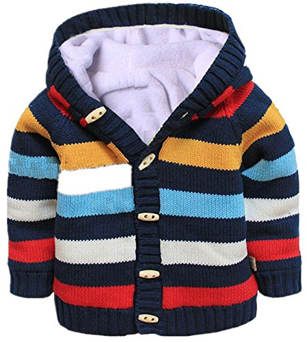 D-Sun Baby Toddler Boys Girls Striped Long Sleeve Sweaters Cardigan Warm Outerwear Jacket (3-4 T, Striped Navy)
