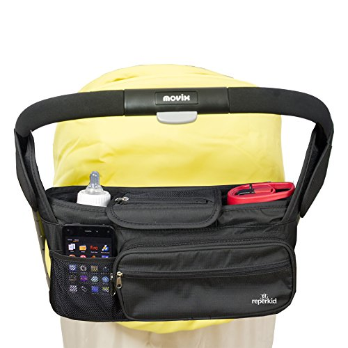 Stroller Organizer Bag - Large Capacity - Premium Baby Stroller Bags Fits All Types of Strollers - Comes w/ Smartphone & Dual Bottle Holder - Great Durability & Design