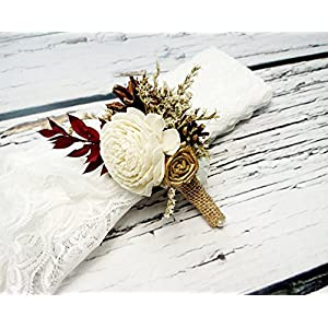 Ivory Brown Burgundy Gold Rustic Wedding Boutonniere Sola Flowers Burlap 13