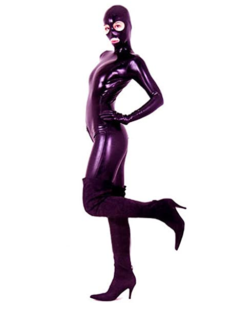 Amazon.com: AvaCostume Mujer Negro Full Body de látex ...