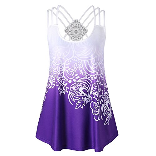 Aniywn Fashion Style!Women's Summer Shirt Loose Musical Notes Print Tank Tops Vest Blouse Purple
