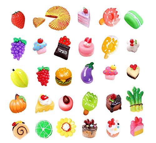 30 pcs 3D Slime Charm Slice Resin Flatback Dessert Beads Button Cake Ice Cream Bread Hamburger Pizza Cookies Macarons, Fruit Vegetable for DIY Scrapbooking Embellishment Phonecase Hair Clip Jewelry
